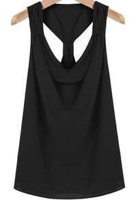 Black Sleeveless Cut Out Chiffon Vest