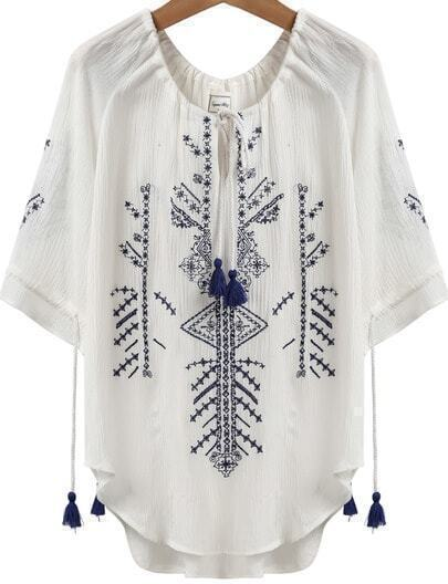 White Short Sleeve Embroidered Tassel Loose Blouse