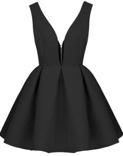Black Faille V Neck Backless Midriff Flare Dress