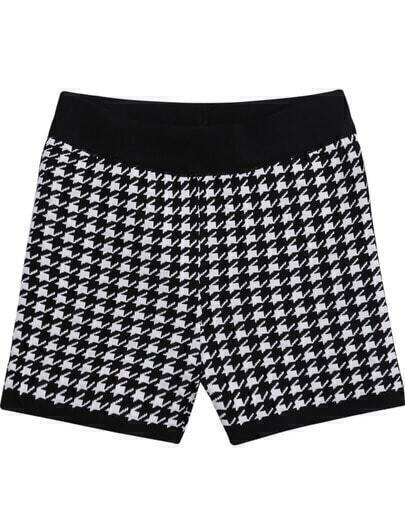 Black Pockets Houndstooth Knit Shorts