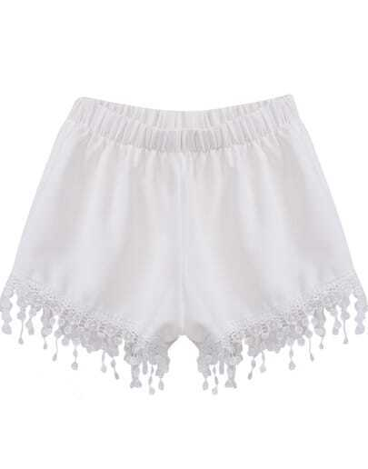 White Elastic Waist Lace Tassel Shorts