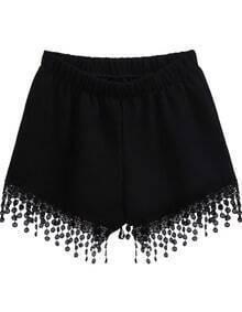Black Elastic Waist Lace Tassel Shorts