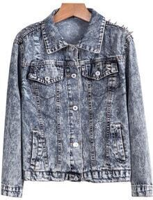 Blue Lapel Long Sleeve Rivet Denim Jacket