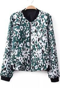 Green Long Sleeve Zipper Leopard Jacket
