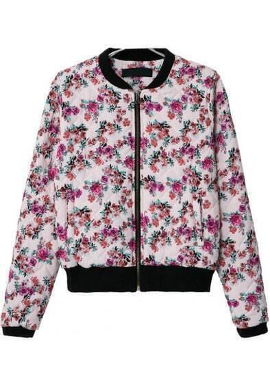 White Long Sleeve Floral Crop Jacket