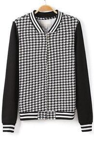 Black Long Sleeve Houndstooth Loose Jacket
