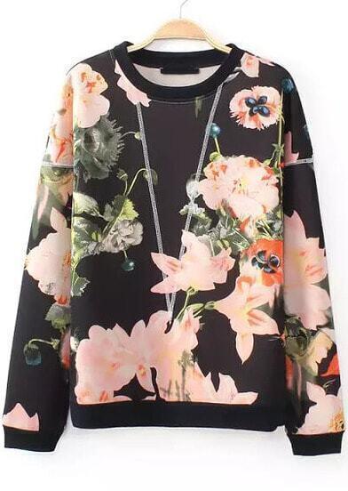 Black Long Sleeve Floral Loose Sweatshirt