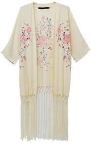Apricot Half Sleeve Floral Tassel Kimono