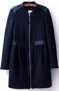 Navy Long Sleeve Contrast PU Leather Zipper Coat