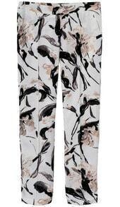 White Pockets Floral Slim Pant