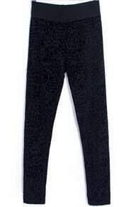 Black Slim Leopard Jacquard Pant