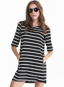 Black White Monochrome Half Sleeve Striped Pockets Dress