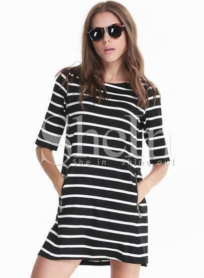 Black White Monochrome Half Sleeve Striped Pockets Dress