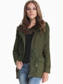 Army Green Hooded Long Sleeve Pockets Outerwear