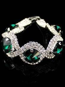 Green Gemstone Silver Diamond Bracelet