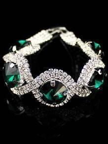 Green Gemstone Silver Diamond Bracelet