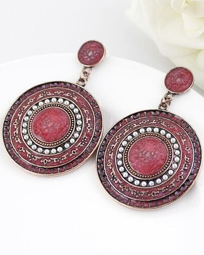 Red Glaze Silver Round Earrings