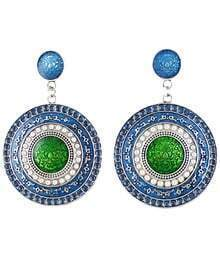 Green Glaze Silver Round Earrings