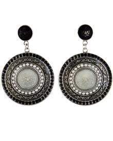 Black Glaze Silver Round Earrings