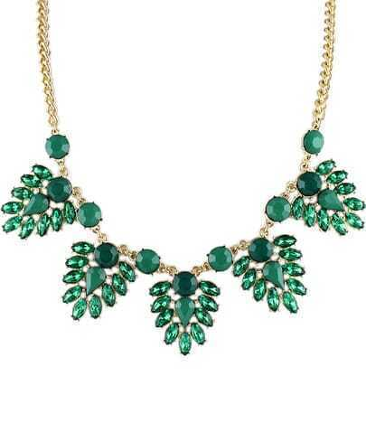 Green Gemstone Gold Chain Necklace