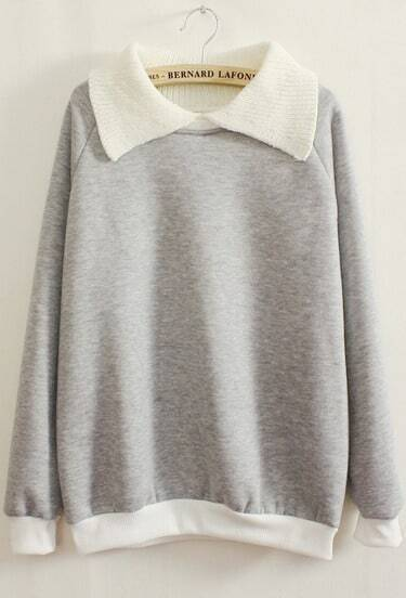 Grey Long Sleeve Contrast Lapel Loose Sweatshirt