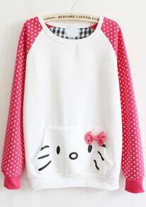 Pink Long Sleeve Polka Dot Bow Pocket Sweatshirt
