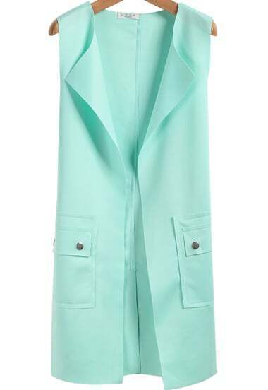 Green Sleeveless Bow Pockets Buttons Vest
