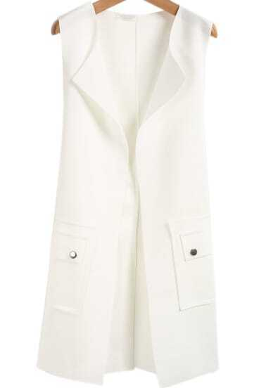 White Sleeveless Bow Pockets Buttons Vest