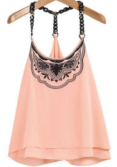 Pink Spaghetti Strap Embroidered Chiffon Cami Top