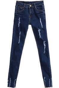 Navy Pockets Ripped Denim Pant