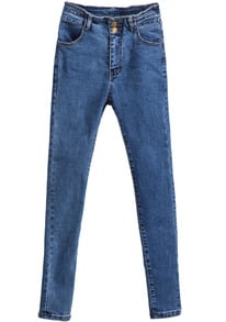 Blue Slim Buttons Pockets Denim Pant