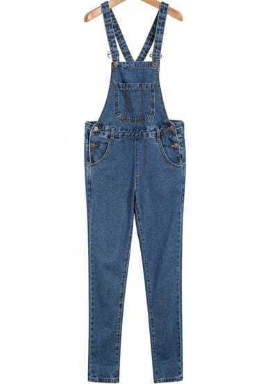 Blue Criss Cross Pockets Denim Jumpsuit