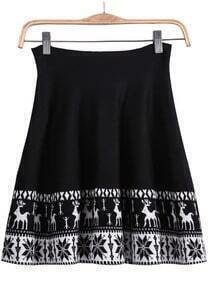 Black Deer Pattern Knit Skirt