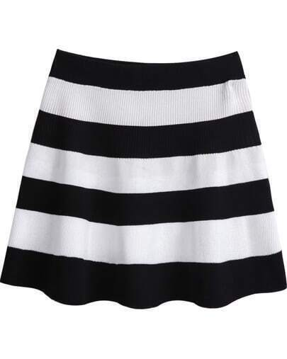 Black White Striped Knit Skirt