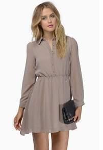 Khaki Long Sleeve Lapel Shift Dress