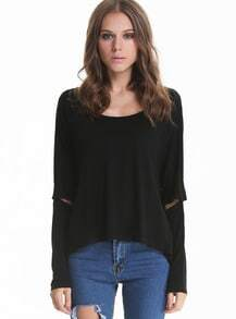 Black Split Sleeve Loose T-shirt