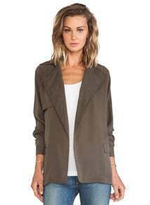 Khaki Long Sleeve Notch Lapel Belt Coat