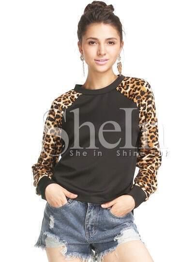 Black Leopard Print Sleeve Sweatshirt