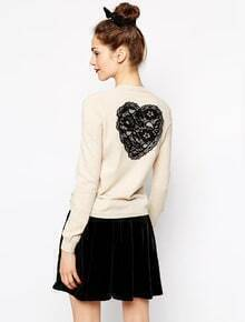 Apricot Long Sleeve Heart Embroidery Back Cardigan
