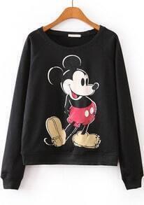 Black Long Sleeve Mickey Print Loose Sweatshirt