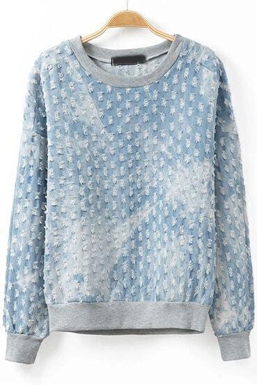 Blue Long Sleeve Ripped Loose Sweatshirt