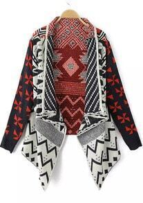 Navy Batwing Long Sleeve Geometric Pattern Cardigan