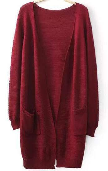 Wine Red Long Sleeve Pockets Loose Knit Cardigan