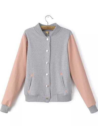 Grey Stand Collar Long Sleeve Buttons Jacket