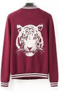 Wine Red Long Sleeve Tiger Print Jacket