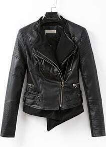 Black Long Sleeve Oblique Zipper Jacket