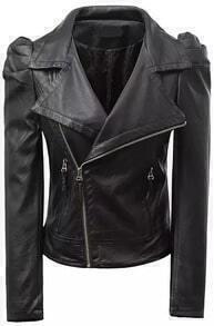 Black Lapel Long Sleeve Zipper PU Crop Jacket