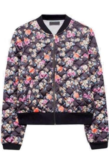 Black Long Sleeve Diamond Patterned Floral Coat