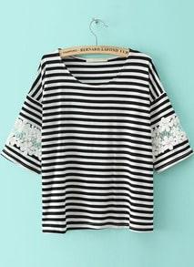Black White Striped Lace Loose T-Shirt