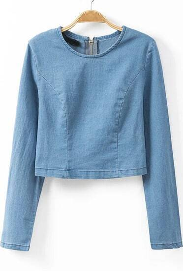 Blue Long Sleeve Zipper Crop Blouse
